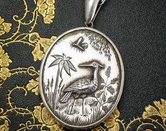 Antique Victorian Sterling Silver Aesthetic Locket, c1890