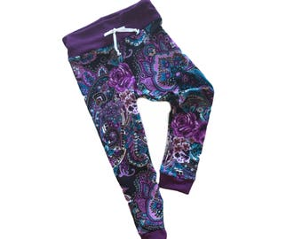 """Floral joggers- winter joggers- baby joggers- toddler joggers- kids joggers- paisley joggers- plum joggers- """"penelope"""" joggers- fall joggers"""