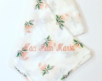 Monogrammed 100% Baby Organic Cotton Muslin Swaddles-Baby Gift-Personalized-Monogram Gift-Swaddles-Monogrammed Baby Gift-Swaddle Blanket