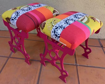 Reimagined Pair Antique Industrial Cast Iron Stools Fuchsia Painted Patchwork Fabric Upholstery