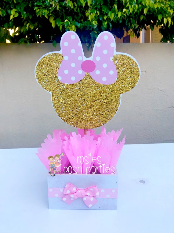 Minnie Mouse Birthday In Pink And Gold Baby Shower Party Wood Guest