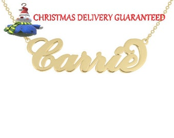"""14K Solid Gold Nameplate Carrie Style name  - Personalized """"Carrie"""" Name Necklace any name necklace  14k gold nameplate"""