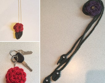 Crocheted flower accessory bundle