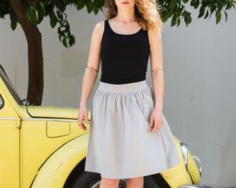 Midi cotton skirt in gray, white