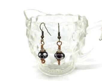 Black and White Lampwork earrings
