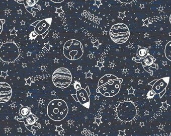 Space Jersey Knit Fabric, Jersey Fabric,Stretch Jersey,Kids Jersey,Children's Jersey - Half Metre