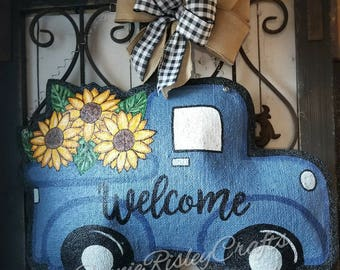 Burlap Door Hanger Vintage Truck with Sunflowers