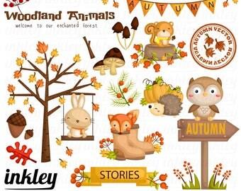50%OFF!! Autumn Animal Clipart - Cute Clipart,Animal Clipart, Fun Clipart, Clipart Set, Adorable Digital Clip Art