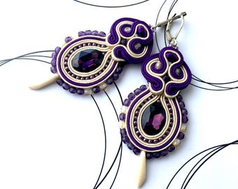 Long Earrings, Soutache Jewelry, Wedding Earrings, Purple Earrings, Oriental Jewelry, Gift For Wife, Soutache Earrings, Dangle Earrings