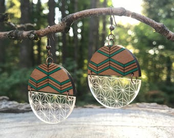 Wooden Earrings/Acrylic - Geo Chevron