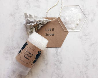 SNOW confetti popper, Party decoration!