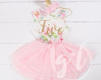 Pink Floral Fifth Birthday Outfit, Fifth Birthday Dress, 5th birthday outfit, Gold Glitter, Floral, Pink