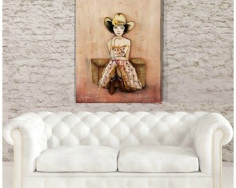 Cowgirl Wall Art Mixed Media Rustic Painting Country Girl Decor Pink and Brown Western Art Cowboy Hat 16 X 20 inches