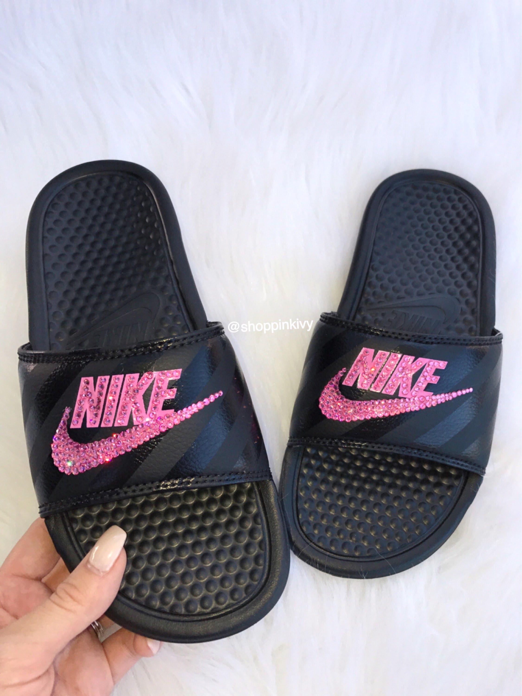 4d526922d86b85 Swarovski Nike Benassi Print Slide Sandals customized with Swarovski  Crystals Bling Nike