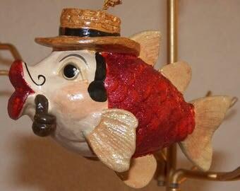 "Katherine's Collection ""Gentleman"" Kissing Fish Ornament"