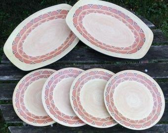 Retro Bessemer Serving platters and plates, Orange Yellow Tan Geometric Design 1970s