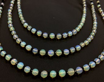 Opal & Black Spinal 3 Strand Necklace