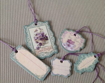 Set of 5 Victorian style tags. Flower collection. Set of 30.