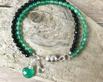 Faceted Black and Green Onyx Dainty Silver Bracelet, Delicate Bracelet,Wire Wrapped Jewelry,Genuine Onyx,Stocking Stuffer, Gifts for mom