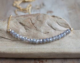 Labradorite Necklace, Sparkly Layering Necklace, Gemstone Row Necklace, Beaded Necklace, Silver, Gold Labradorite Jewellery, Gift for Her