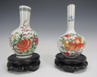 Chinese Pretty red flower pattern design / Porcelain Vase w/ stands set of 2