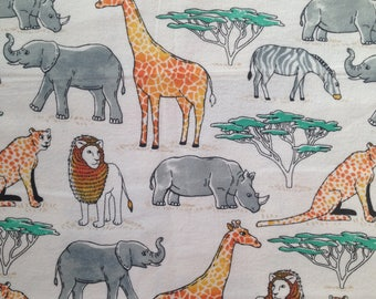 Custom Fitted Crib Sheet OR Pack N Play Sheet OR Changing Pad Cover Cozy Flannel White Colorful Safari Jungle Animals