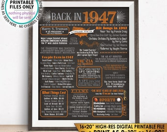 "1947 Flashback Poster, Flashback to 1947 USA History Back in 1947, Birthday Anniversary, Orange, Chalkboard Style PRINTABLE 16x20"" Sign <ID>"