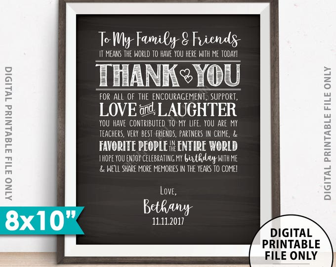 """Birthday Thank You Sign, Thanks for Coming to my Birthday Party Decoration, B-day Thank You Display, Chalkboard Style PRINTABLE 8x10"""" Sign"""