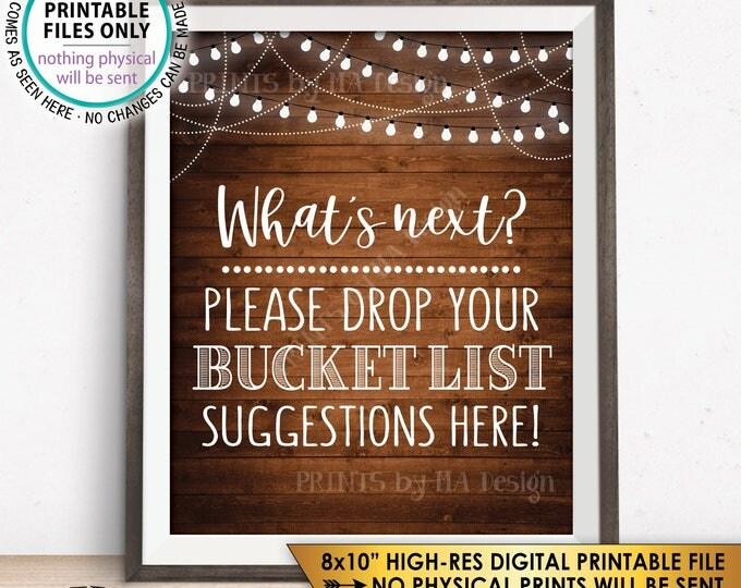 "Bucket List Suggestions Sign, Retirement, Graduation, Bon Voyage, Birthday, Wedding, Rustic Wood Style PRINTABLE 8x10"" Instant Download"