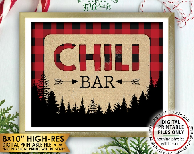 """Lumberjack Chili Bar Sign, Chili Station Sign, Red Checker Christmas Trees Decorations, Buffalo, PRINTABLE 8x10"""" Instant Download Chili Sign"""