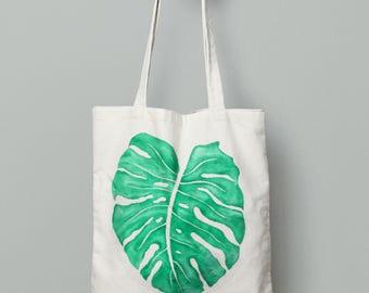 Canvas Tote Bag - Tote Bag - Reusable and Washable Bag - Organic Cotton - Organic Tote - Screen Printed Cotton Grocery Bag - Monstera Leaf