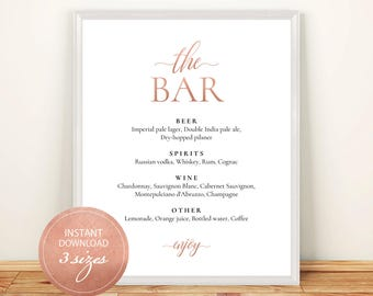Pdf Template Bar Menu 8x10, 11x14, 16x20 Rose Gold Wedding Bridal Shower INSTANT DOWNLOAD Bar Menu Editable Alcohol Menu Printable #DP140_11