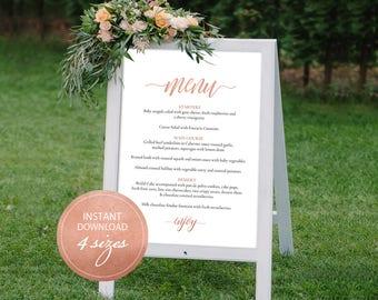 Editable PDF Wedding Menu Sign Rose Gold Wedding Menu Board Calligraphic Wedding Menu Poster Instant download DIY Printable Sign #DP140_20