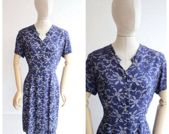 Vintage 1940's Day Dress Forties 1940's revival cotton dress floral tea dress Navy Blue Floral Dress forties ww2 land girl dress lindy UK 10