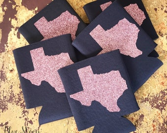Can Cooler - Can Coolie - Can Insulator - Can Cozies - TEXAS - Texas Can Cooler - Charcoal Gray - Pink Glitter