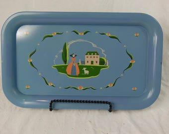 Vintage Sage Green Tin Tray-Midcentury Modern Blue Tray with Shepard Girl - Lap Tray - TV Tray - Retro Memo Board