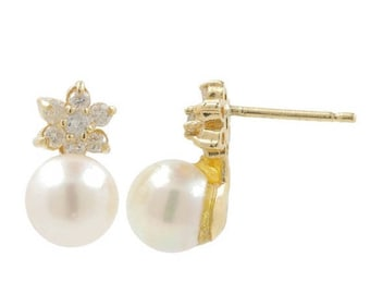 Super Sale Ladies Classic Estate 14K Yellow Gold Silver Pearl & Diamond Push Back Floral Design Flower Shaped Earrings