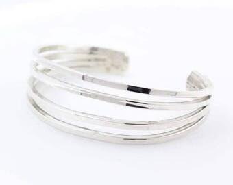 Super Sale Ladies Vintage Retro Estate 925 Silver Cuff Bangle Bracelet