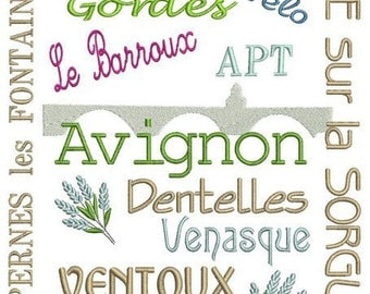 Provence terms embroidery design
