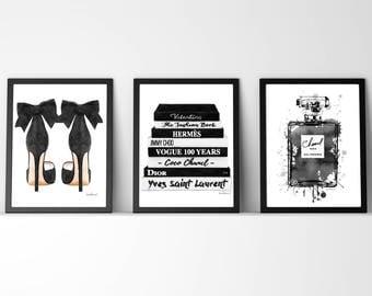Black and white, Set of 3, fashion illustration, watercolor fashion illustration, fashion illustrations, fashion print, fashion poster, gift