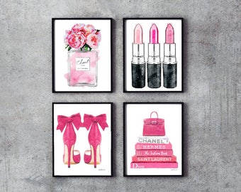 Set of 4, fashion, Pink, Watercolor, Flowers, Peonies, silver, Lipstick, fashion illustration, perfume, with flowers, shoes,book, gift, pink