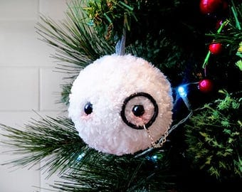 Fluffy, Snowball, Hanging Christmas Tree Decoration, Christmas Decoration, Furry, Festive, Xmas, Tree Decoration, Snow, Bauble, Monocle