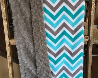Baby Blanket, Minky Chevron Blanket, Teal Gray Grey Aqua Baby Blanket, Chevron Crib Bedding