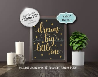 Dream Big Little One Sign, Nursery Decor, Children's Room Decor, Wall Art, Chalkboard Style, Instant Download, Digital Files