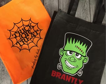 Trick or Treat Bags - Halloween Bags - Candy Totes - Happy Halloween - Candy Bag