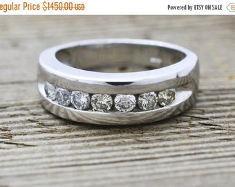 ON SALE Gents Diamond Wedding Band 14KT White Gold