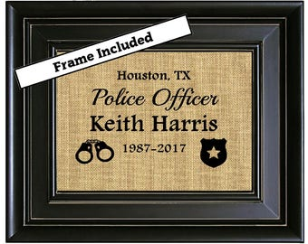 FRAMED Personalized Police Officer Gift Police Gifts Police Gift Idea Retired Police Officer Gift Unique gift Picture Father's Day Gift