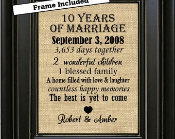 FRAMED Personalized 10th Anniversary Gift/10th Anniversary Gifts/Anniversary Print/10th Wedding Anniversary Gift/Gift for him/Gift for her