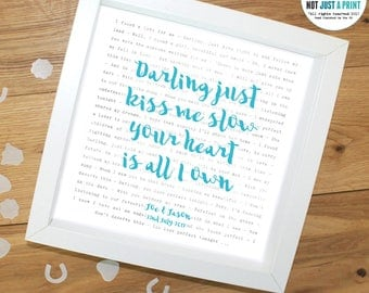 """Ed Sheeran Perfect Song Lyrics Inspired Personalised Print - With OWN LINE and personal text OR """"Darling just kiss me slow"""" - Wedding Gift"""