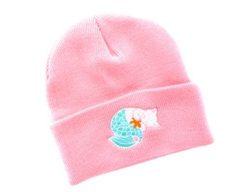 Pink Purrmaid Beanie (knit beanie cute cat hat kitten beanie cat lady gift for cat lover baby pink kawaii cat mermaid cat white cat)